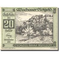 Billet, Autriche, Ranna-Muhldorf, 20 Heller, Château, 1920 SPL Mehl:FS 1122.7IIa - Autriche