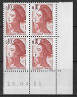 France -1985 - Coin Daté 16/04/85 - Type Liberté De Gandon 10 C. Rouge-brun -Y&T N°2179 ** Neuf Luxe 1er Choix - 1980-1989