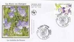 FDC 2019 - La Flore En Danger - Violette De Rouen - 1er Jour Le 17.05.2018 à 974 La Plaine-des-Palmistes - FDC