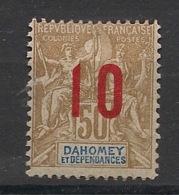 Dahomey - 1912 - N°Yv. 40a - Groupe 10 Sur 50c Bistre - Surcharge Espacée - Neuf * / MH VF - Dahomey (1899-1944)