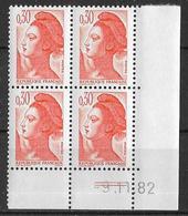 France -1981 - Coin Daté 9/11/82 - Type Liberté De Gandon 30 C. Orange -Y&T N°2182 ** Neuf Luxe 1er Choix - 1980-1989