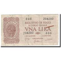 Billet, Italie, 1 Lira, 1944, KM:29b, TB+ - [ 1] …-1946 : Koninkrijk