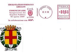 ITALIA - 2009 LODI Comune Di Lodi Inaugurazione Giardini Pubblici - Affrancatura Meccanica Rossa Red Meter SPECIMEN - Covers