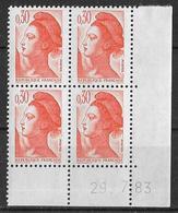 France -1983 - Coin Daté 29/72/83 - Type Liberté De Gandon 30 C. Orange -Y&T N°2182 ** Neuf Luxe 1er Choix - 1980-1989