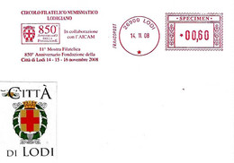 ITALIA - 2008 LODI 850° Fondazione Città - Affrancatura Meccanica Rossa Red Meter SPECIMEN - Covers