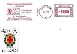 ITALIA - 2008 LODI 850° Fondazione Città - Ema Affrancatura Meccanica Rossa Red Meter SPECIMEN - Buste