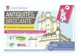 Invitation/ Ticket D'entrée Antiquités Brocante Au Chateau De Vincennes Ange 94 Blason Ville De Vincennes  - 2019 - Tickets - Entradas