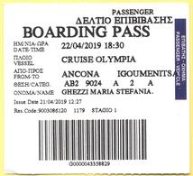 Cruise Olympia - Ancona-Igoumenitsa - Biglietto Di Imbarco - Boarding Pass - Europa