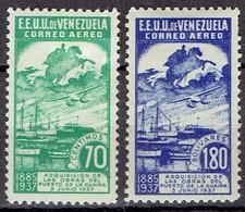 Venezuela 1937 - Nationalization Of Harbours - Michel 212-13  Yvert PA64-5  -  MH, Avec Trace De Charniere, Ungebraucht - Venezuela