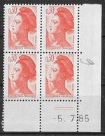 France -1985 - Coin Daté 5/7/85 - Type Liberté De Gandon 30 C. Orange -Y&T N°2182 ** Neuf Luxe 1er Choix - 1980-1989