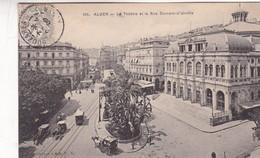 ALGER. LE THEATRE ET LA RUE DUMONT D'URVILLE. COLLECTION IDEALE. CPA OBLITEREE 1909 BOUZALEAH - BLEUP - Algeri