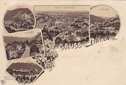AK Gruss Aus Baden - Mehrbildkarte - Helenenthal Rauhenstein Weilburg - 1897 (41310) - Baden Bei Wien