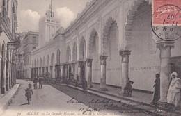ALGER. LA GRANDE MOSQUEE. RUE DE LA MARINE. LL. CIRCULEE 1907 A ROSARIO, ARGENTINE - BLEUP - Algeri