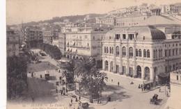 ALGER. LE THEATRE ET LA PLACE BRESSON. LL. CIRCULEE 1907 A ROSARIO, ARGENTINE - BLEUP - Algeri