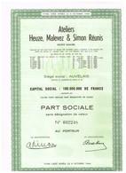 Ancienne Action - Ateliers Heuze, Malevez & Simon  Réunis - Saint-Servais - Auvelais - N° 032248 - Industrie