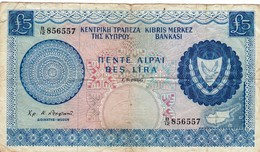 """CYPRUS (GREECE) 5 POUNDS 1966 P-44a F-VF """"free Shipping Via Registered Air Mail"""" - Cyprus"""