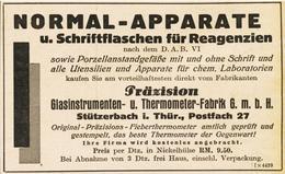 Original-Werbung/ Anzeige 1928 - NORMALAPPARATE / PRÄZISION - STÜTZERBACH - Ca. 115 X 75 Mm - Werbung