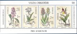 Sweden, 1982, Wild Orchids Block Issue MNH Orchis Mascula, Epipactis Palustris, Dactylorchis Sambucina, Cypripedium Calc - Orchids