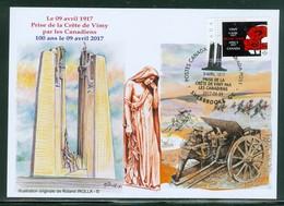 Vimy 9 Avril 1917 - 100 Ans / Years. Prise De La Crête De Vimy; Dessin M. Roland Irolla  Carte Maximum Card.(6343) - Maximumkaarten