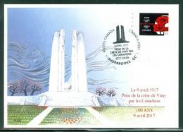 Vimy 9 Avril 1917 - 100 Ans / Years. Prise De La Crête De Vimy; Dessin Mme M.-N. Goffin  Carte Maximum Card.(6349) - Maximumkaarten