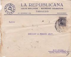 LA REPUBLICANA TABACOS - COMMERCIAL ENVELOPE CIRCULEE 1937 MONTEVIDEO A LAVALLEJA - BLEUP - Uruguay