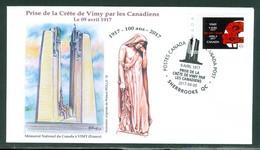 Vimy 9 Avril 1917 - 100 Ans / Years. Prise De La Crête De Vimy; Dessin M. R. Irolla; Env. Souvenir.(6341) - 1952-.... Règne D'Elizabeth II