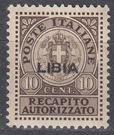 LIBIA (COLONIA ITALIANA) - 1942 - Recapito Autorizzato, Unificato 4, Nuovo, 10 Centesimi, Come Da Immagine. - Libyen