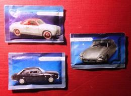 Sugar Bags Full- Vintage Cars. Citroen DS 19, Alfa Romeo Giulia, VW Karmann Ghia. Lot Of 3. - Zucchero (bustine)