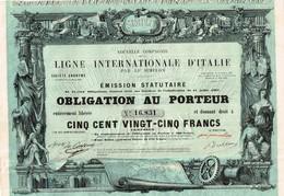 Titre Ancien - Nouvelle Compagnie De La Ligne Internationale D' Italie Par Le Simplon - Titre De 1868 - Déco - Chemin De Fer & Tramway