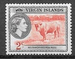 1956 2 Cents Queen Elizabeth, Mint Hinged - British Virgin Islands