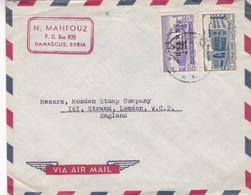 N MAHFOUS - COMMERCIAL ENVELOPE CIRCULEE 1952 SYRIA TO ENGLAND - BLEUP - Siria