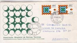 ASSOCIAÇAO BRASILEIRA DE NORMAS TECNICAS - COMMERCIAL ENVELOPE CIRCULEE 1976 BRAZIL TO ARGENTINE - BLEUP - Brasile
