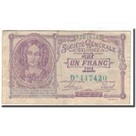 Billet, Belgique, 1 Franc, 1923-10-18, KM:86b, TB+ - [ 3] Occupations Allemandes De La Belgique