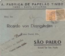 A FABRICA DE PAPELAO TIMBO - COMMERCIAL ENVELOPE CIRCULEE CIRCA 1940s BRAZIL - BLEUP - Storia Postale