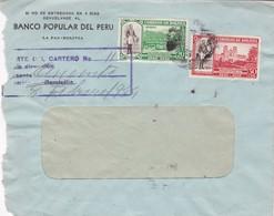 BANCO POPULAR DEL PERU - COMMERCIAL ENVELOPE CIRCULEE 1944 BOLIVIA RECOMMANDE - BLEUP - Bolivia