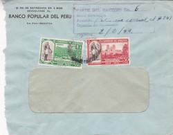 BANCO POPULAR DEL PERU - COMMERCIAL ENVELOPE CIRCULEE 1944 BOLIVIA SIN ENTREGAR - BLEUP - Bolivia