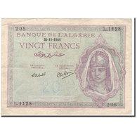 Billet, Algeria, 20 Francs, 1944-11-29, KM:92b, TB+ - Algeria