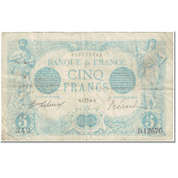 France, 5 Francs, Bleu, 1916, 1916-07-03, Lion Inversé, TB, Fayette:F2bis.4 - 1871-1952 Circulated During XXth
