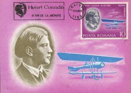 Aviation : Henri COANDA - Constructeur Du Premier Avion A Reaction Du Monde 16 XII 1910   BF 135  Carte Maximum Roumanie - Maximum Cards & Covers