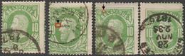 COB 30 - 4 Timbres Décentrés + Variétés - 1869-1883 Léopold II