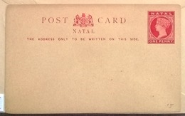 Natal POST CARD Q V 1 Penny - South Africa (...-1961)