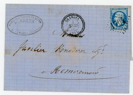 VOSGES LST 1866 GRANGES GC + T22 INDICE 10 COTE 60 EUROS FRAPPE SUPERBE N°22 DFT - Postmark Collection (Covers)
