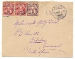 L De Locarno 25 III 1897 Via Bellinzona 26 III 97 Vers  Z.A.R. Transvaal - Barberton 24 APR 97 - 1882-1906 Armoiries, Helvetia Debout & UPU