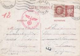 Entier Pétain - Tulle 9 IV 43 Correze Vers Namur - Censure Oberkommando Der Wehrmacht - Petite écriture - France