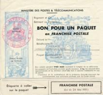 Bon Pour Un Paquet En Franchise Postale - Base Aérienne N° 146 - - Franchise Militaire (timbres)
