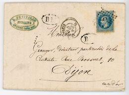 COTE D'OR LAC 1868 AMBULANT LYON A PARIS + BM BOITE MOBILE = LETTRE DE SEURRE COTE D'OR . V° BUREAU PASSE 1307 DIJON - Postmark Collection (Covers)