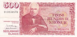 Islande - Billet De 500 Kronur - Jon Sigurdsson - 22 Mai 2001 - Islande