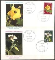 2 Enveloppes Polynesie - 1er Jour Fleurs Le 15/09/1977 (bon Etat) - FDC