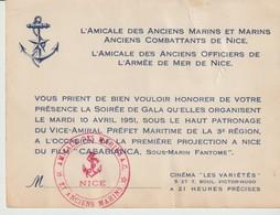 L'AMICALE DES ANCIENS MARINS ET MARINS ANCIENS COMBATTANTS DE NICE - L'AMICALE DES ANCIENS OFFICIERS DE L'ARMEE DE MER - Documentos Históricos