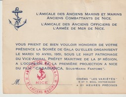 L'AMICALE DES ANCIENS MARINS ET MARINS ANCIENS COMBATTANTS DE NICE - L'AMICALE DES ANCIENS OFFICIERS DE L'ARMEE DE MER - Historical Documents
